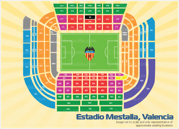 Estadio Mestalla, Valencia, Spain